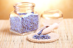 Dried lavender petals on the wooden spoon Royalty Free Stock Photos