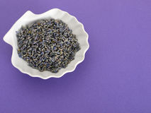 Dried lavender in porcelain pot Stock Photo