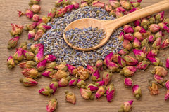 Dried lavender and rose flower tea Stock Photos