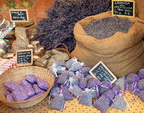Dried lavender sachets basket. Stock Photography