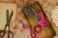 Dried lavender, vintage scissors, book and lace doily Royalty Free Stock Image