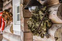 Dried leaves. Hanging on a porch of a log house by the beach Stock Image