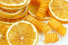 Dried lemon slices. On white background Royalty Free Stock Photography