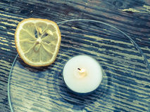 The dried lemon is surrounded Royalty Free Stock Photos