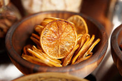 Dried lemon used as cocktail decoration Royalty Free Stock Image