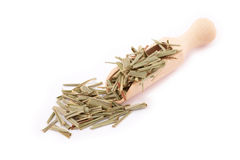 Dried lemongrass on wooden spoon Stock Photo