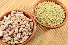 Dried lentils and beans Royalty Free Stock Images