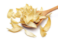 Dried lily bulbs. Traditional chinese herbal medicine, isolate on white background Stock Photos