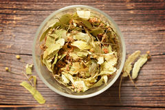 Dried linden flower in a glass jar, Royalty Free Stock Photography
