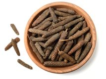 Dried long pepper, piper longum isolated on white, top view. Dried long pepper, piper longum isolated on white background Stock Photos