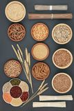 Dried Macrobiotic Health Food. Dried macrobiotic super food with japanese soba and udon noodles, legumes, seeds, grains, whole wheat pasta, seeds and nuts. Foods Royalty Free Stock Photography