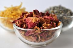 Dried marigold calendula petals with lavender and rose Stock Photo