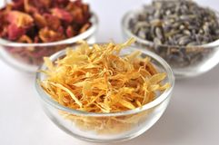 Dried marigold calendula petals with lavender and rose Royalty Free Stock Image