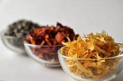 Dried marigold calendula petals with lavender and rose Stock Images