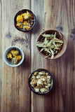Dried marigold flowers, linden blossoms and hops f Stock Image