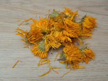 Dried marigold flowers. Dried orange marigold flowers on wooden background royalty free stock photos