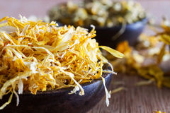 Dried marigold petals Stock Images