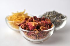 Dried marigold petals with lavender and rose Stock Photography
