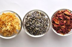 Dried marigold petals with lavender and rose Stock Photo