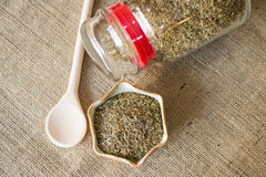 Dried marjoram in bowl Royalty Free Stock Image