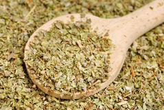 Dried marjoram spice  and wood spoon Royalty Free Stock Image