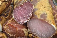 Dried meat products on offer royalty free stock photography