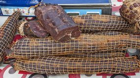 Dried Meat Products On Offer Stock Photo