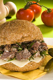 Dried meat sandwich Royalty Free Stock Photos