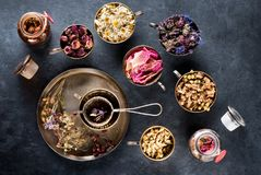 Dried medical healing herbs and herbal tea stock photo