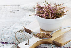 Dried medicinal herb. In a bowl for tea drinking. Alternative treatment. ( Erica Umbellata). Selective focus Royalty Free Stock Photos