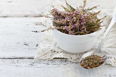 Dried medicinal herb. In a bowl for tea drinking. Alternative treatment. ( Erica Umbellata). Selective focus Stock Photo