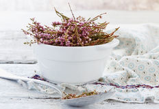 Dried medicinal herb. In a bowl for tea drinking. Alternative treatment. ( Erica Umbellata). Selective focus Stock Photography