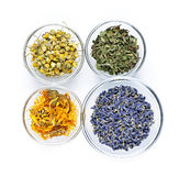 Dried medicinal herbs. Bowls of dry medicinal herbs on white background from above Stock Photo