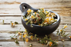 Dried medicinal herbs. In a ceramic bowl on a wooden table.( Carqueja and Genista Tridentata).  Close-up. Alternative treatment . Selective focus Royalty Free Stock Photo