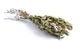 Dried medicinal herbs raw materials  on white. Filipendu. La ulmaria, commonly known as meadowsweet or mead wort Royalty Free Stock Photo