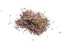 Dried medicinal herbs raw materials on white. Flowers o royalty free stock image