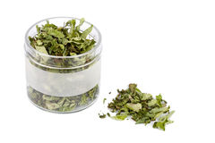 Dried mint in glass jar Royalty Free Stock Images
