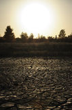 Dried mud at sunset Royalty Free Stock Photography