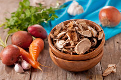 Dried mushroom and vegatable Stock Images