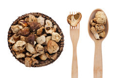 Dried mushroom in a plate, fork and spoon Stock Images