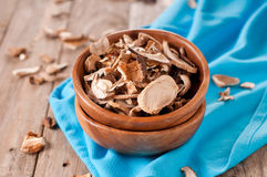 Dried mushroom. On the wooden table, selective focus Stock Photography