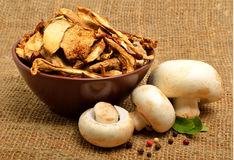Dried mushrooms in the bawl, ceps and raw champignons on the sac Stock Image