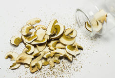 Dried mushrooms Boletus reticulatus. Royalty Free Stock Photos
