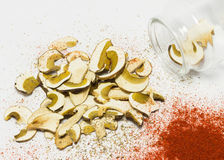 Dried mushrooms Boletus reticulatus, dry red peppers. Royalty Free Stock Photo