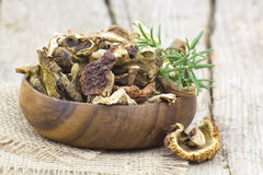 Dried mushrooms in a bowl Royalty Free Stock Image