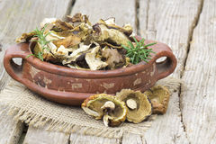 Dried mushrooms in a bowl Royalty Free Stock Photography
