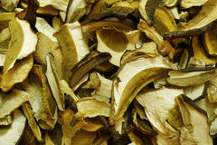 Dried mushrooms. Chopped dried mushrooms in the market Royalty Free Stock Images