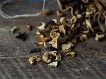 Dried Mushrooms close up on Wooden table Stock Image