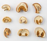 Dried mushrooms for cooking. On white background. Stock Images