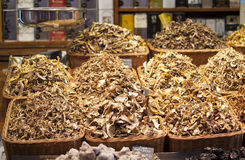 Dried mushrooms exposed  in a market Royalty Free Stock Photos